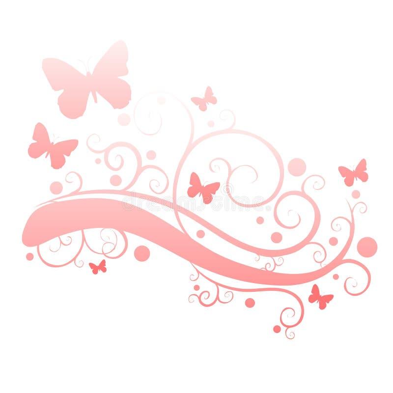 Rosafarbene Basisrecheneinheiten im Blumen-Garten-Schattenbild stock abbildung
