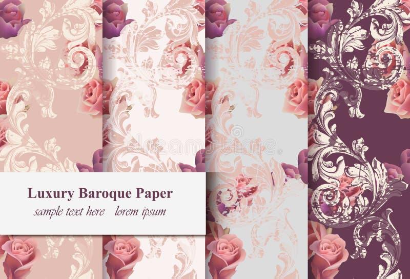 Rosafarbene Blumen der Weinlese und barockes Verzierungsmuster gesetzter Vektor Altes Papier des Schmutzes masert Hintergrund stock abbildung