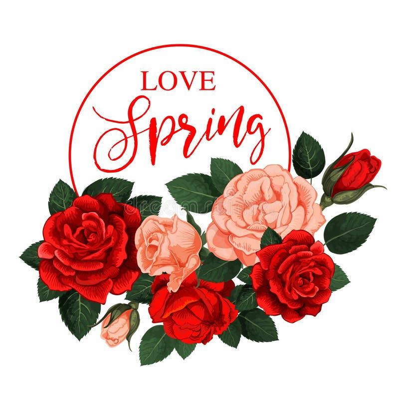 Rosafarbene Blumen des Vektors für Frühlingsfeiertagszitat vektor abbildung