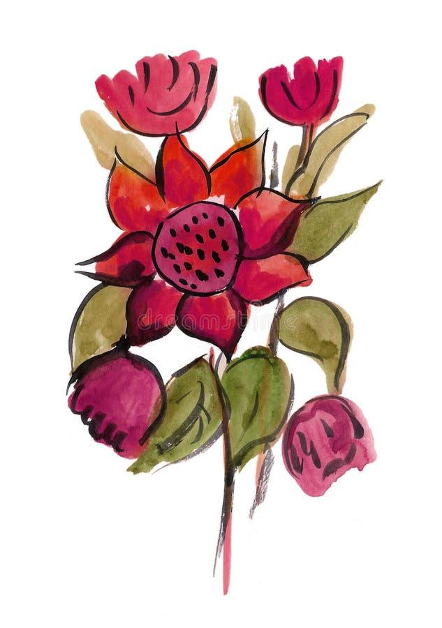 Download Rosafarbene Blumen Gemalt Im Aquarell Stock Abbildung - Illustration von nett, auszug: 27727012