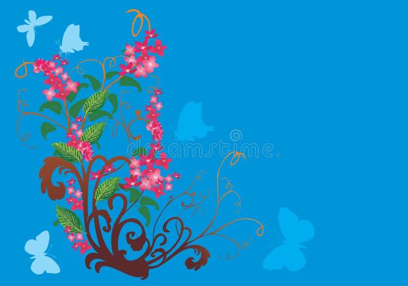 Rosafarbene Blumen und blaue Basisrecheneinheiten lizenzfreie abbildung