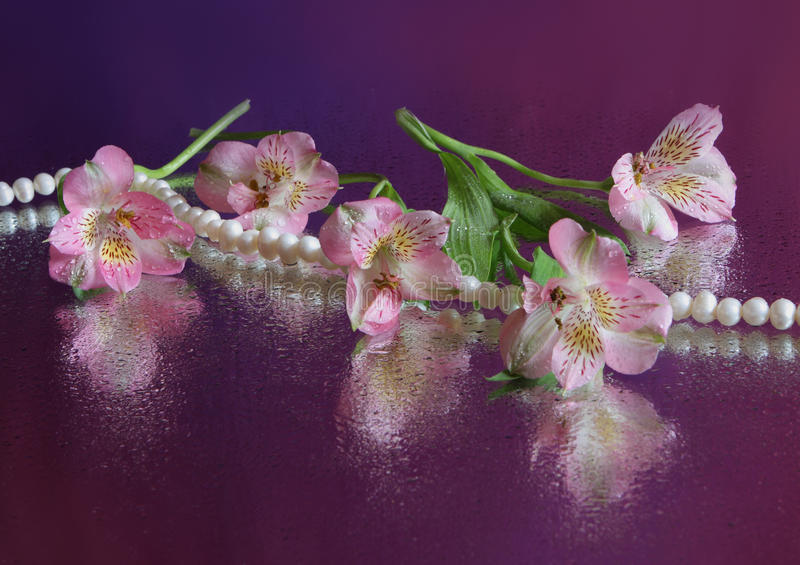 Rosafarbene Blumen- und Perlenhalskette stockfotos