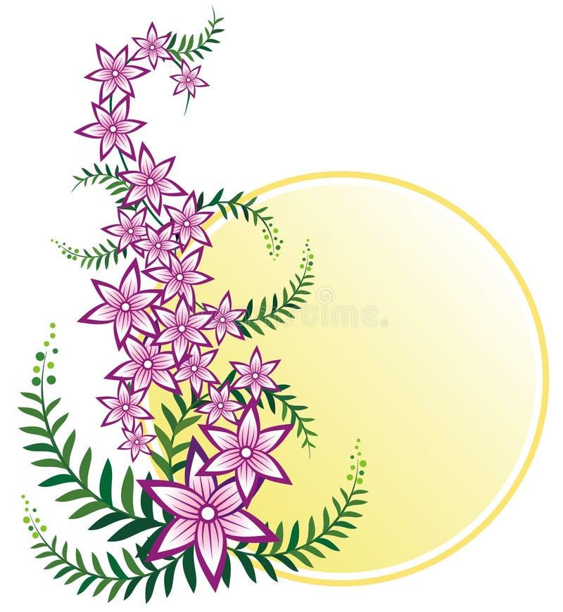Rosafarbene Blumenkriechpflanzeauslegung mit Platz für Meldungen vektor abbildung
