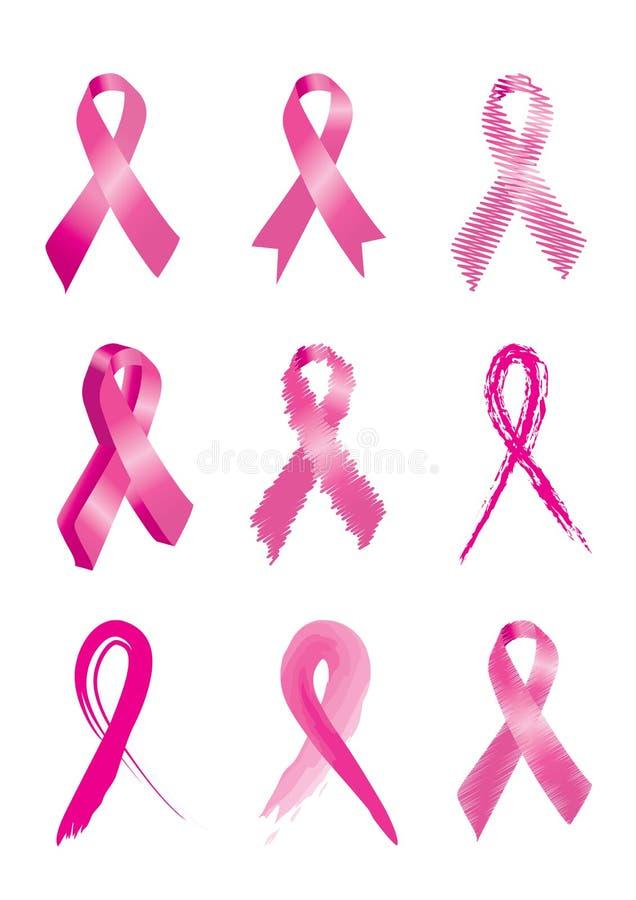 Rosafarbene Brustkrebs-Bewusstseinsfarbbänder lizenzfreie abbildung