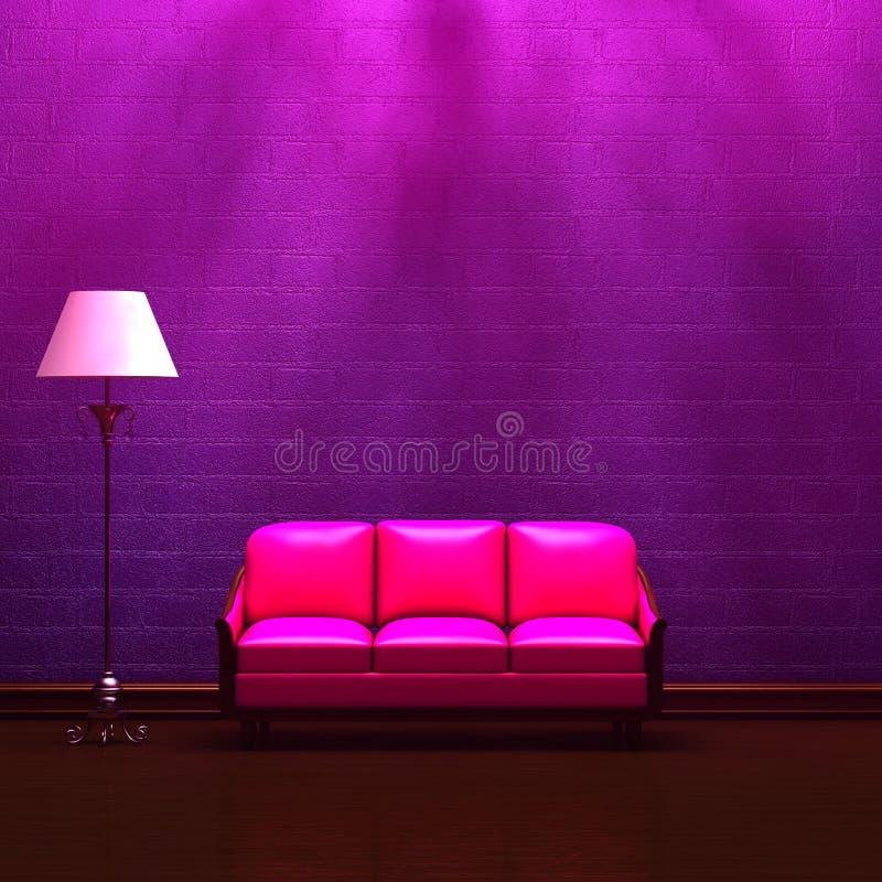 Rosafarbene Couch und Standardlampe im purpurroten Innenraum vektor abbildung