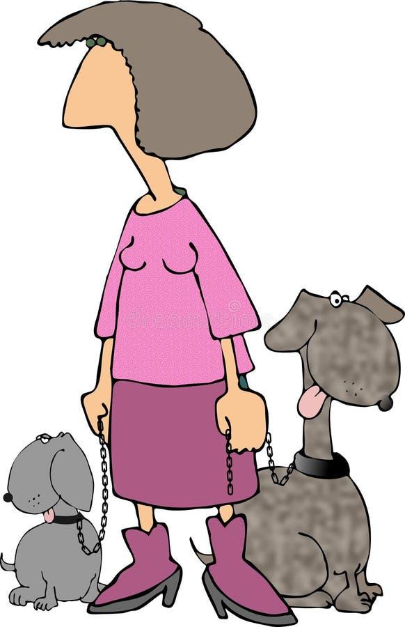 Rosafarbene Dame Mit 2 Hunden Stockfoto
