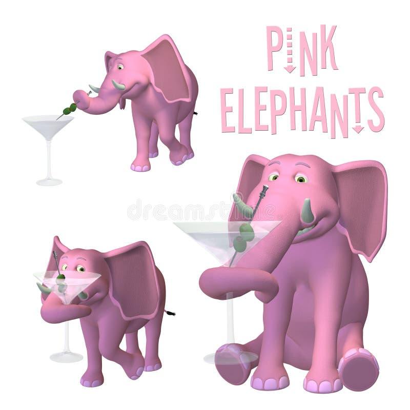 Rosafarbene Elefanten lizenzfreie abbildung