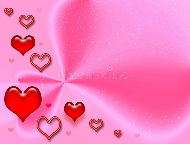 Rosafarbene feierliche Karte zum Valentinstag lizenzfreie abbildung