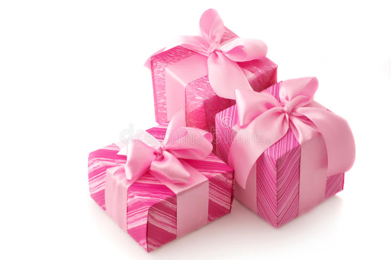 Rosafarbene Geschenke lizenzfreie stockfotos