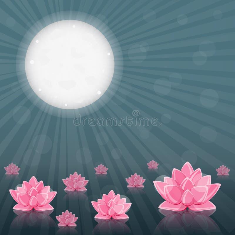Rosafarbene Lilien-Blume im schwarzen Wasser und im Mondschein stock abbildung