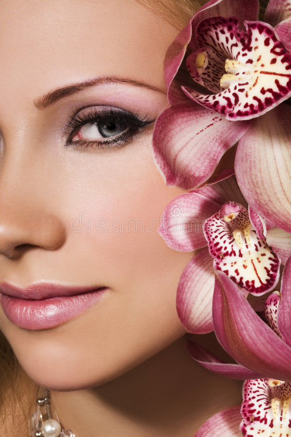 Rosafarbene Orchideen stockbilder