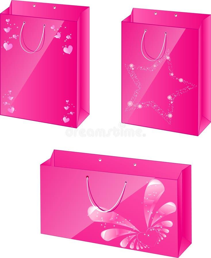 Rosafarbene Papierpakete mit Zauberauslegung lizenzfreie abbildung