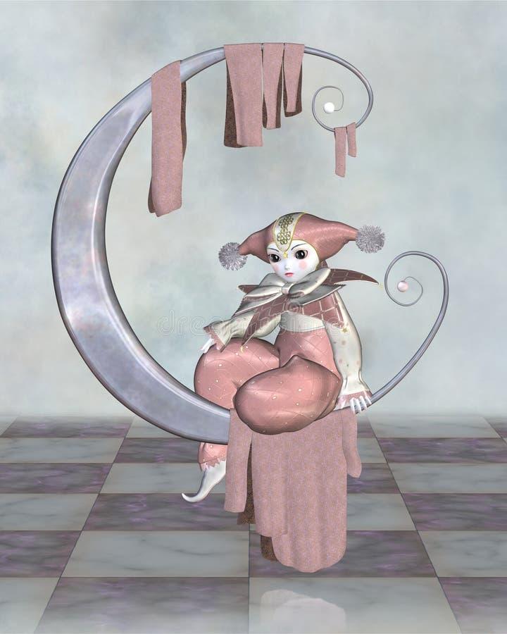 Rosafarbene Pierrot Clown-Puppe auf einem silbernen Mond vektor abbildung