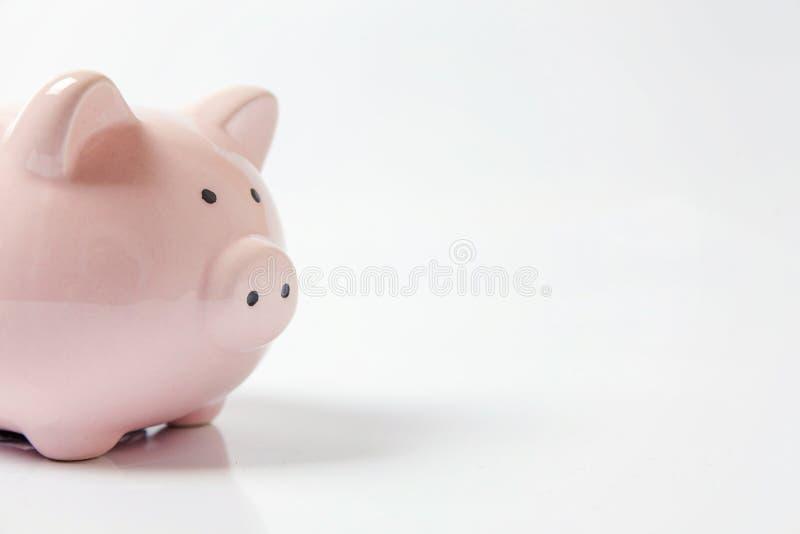 Rosafarbene piggy Querneigung getrennt auf weißem Hintergrund stockfotografie