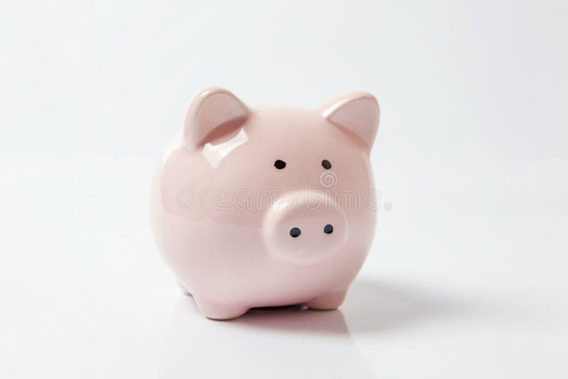Rosafarbene piggy Querneigung getrennt auf weißem Hintergrund stockfotos