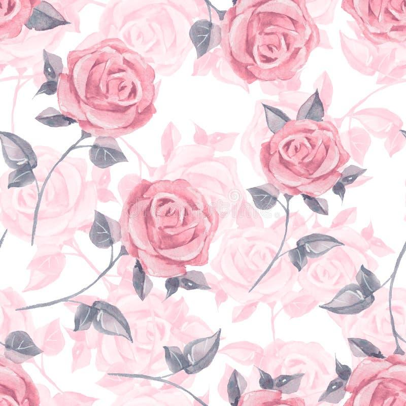 Rosafarbene Rosen Nahtloses mit Blumenmuster 19 des Aquarells stock abbildung
