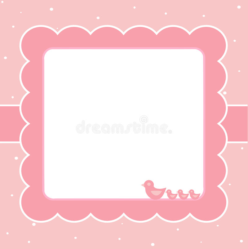 Rosafarbene Schätzchenkarte stock abbildung