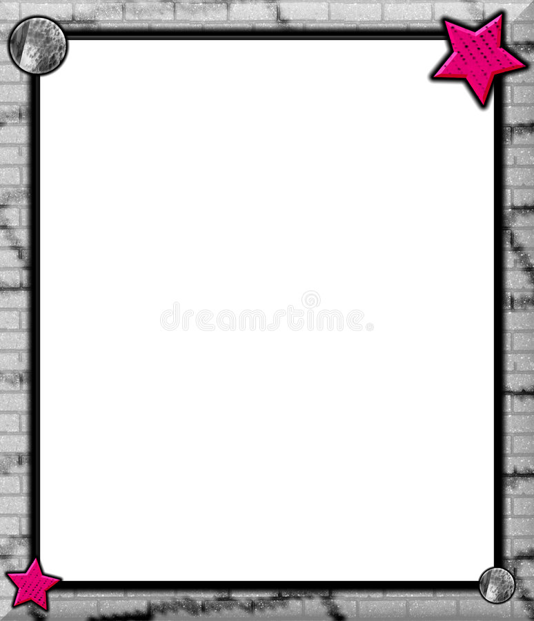 Rosafarbene Sterne, graue Backsteinmauer vektor abbildung