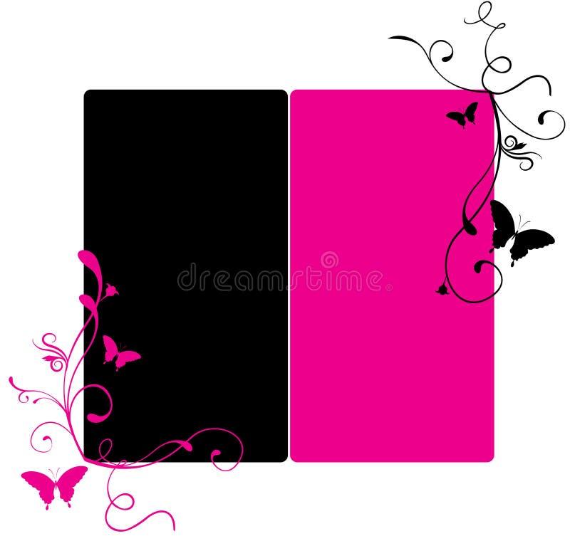 Rosafarbene und schwarze Fahne vektor abbildung