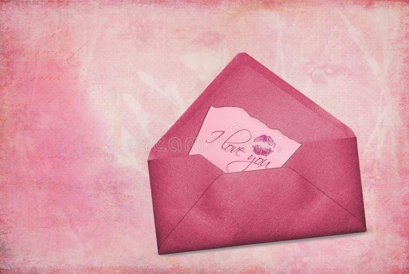 Rosafarbene Valentinsgrußanmerkung vektor abbildung