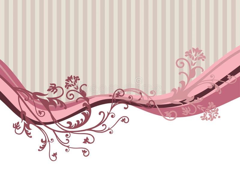 Rosafarbene vektorblumen auf gestreiftem Hintergrund lizenzfreie abbildung
