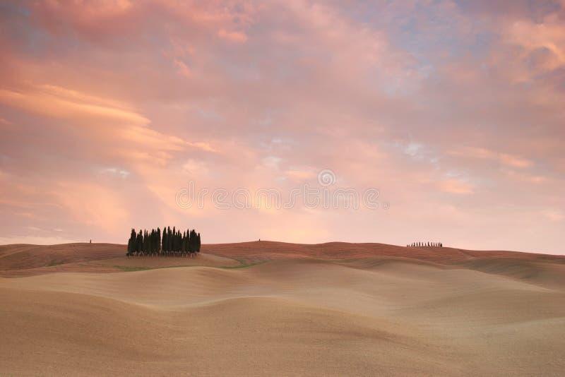 Rosafarbene Wolken über Toskana lizenzfreies stockfoto