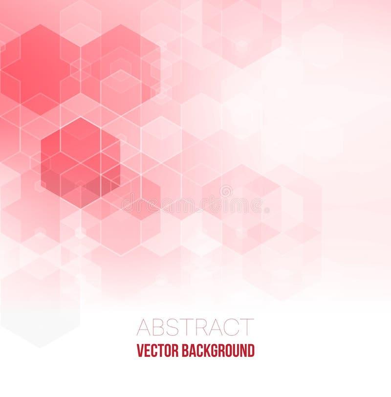 Rosafarbener abstrakter Hintergrund Abstrakter Hexagonhintergrund Polygonales Design der Technologie Futuristischer Minimalismus  vektor abbildung
