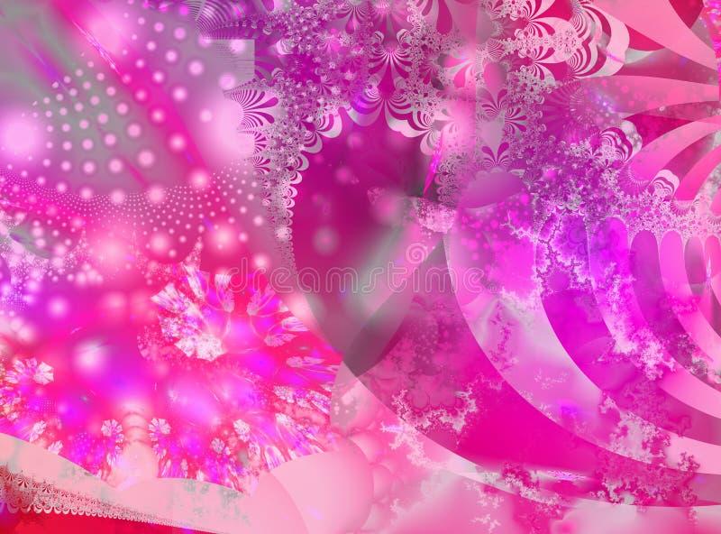 Rosafarbener außergewöhnlicher Fractal stock abbildung