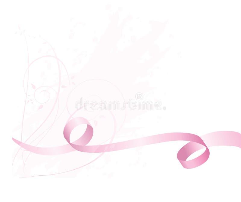 Rosafarbener Bewusstseinsfarbbandhintergrund für Brustkrebs lizenzfreie abbildung
