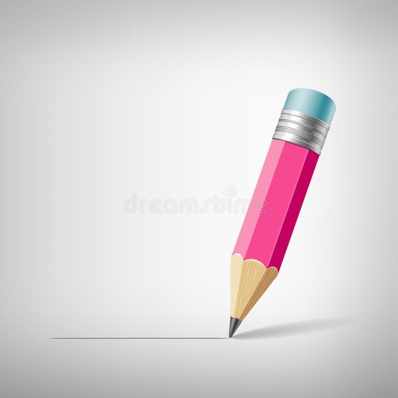 Rosafarbener Bleistift lizenzfreie abbildung