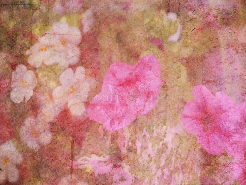 Rosafarbener BlumenGrunge Hintergrund stock abbildung