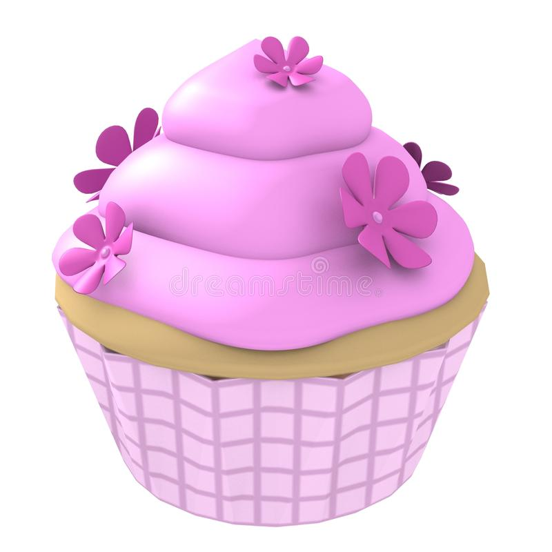 Rosafarbener Blumenkleiner kuchen 3d computererzeugt lizenzfreie abbildung