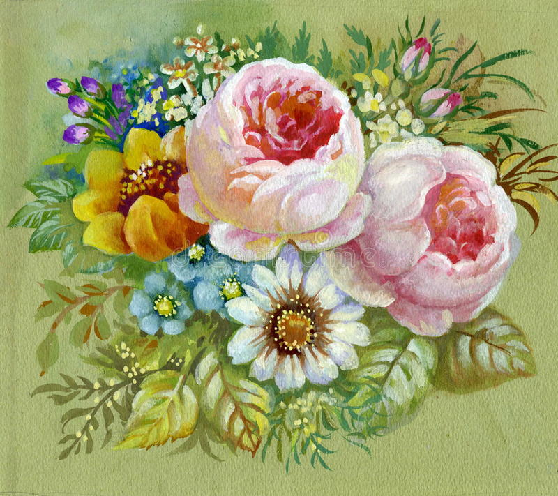 Rosafarbener Blumenstrauß stock abbildung