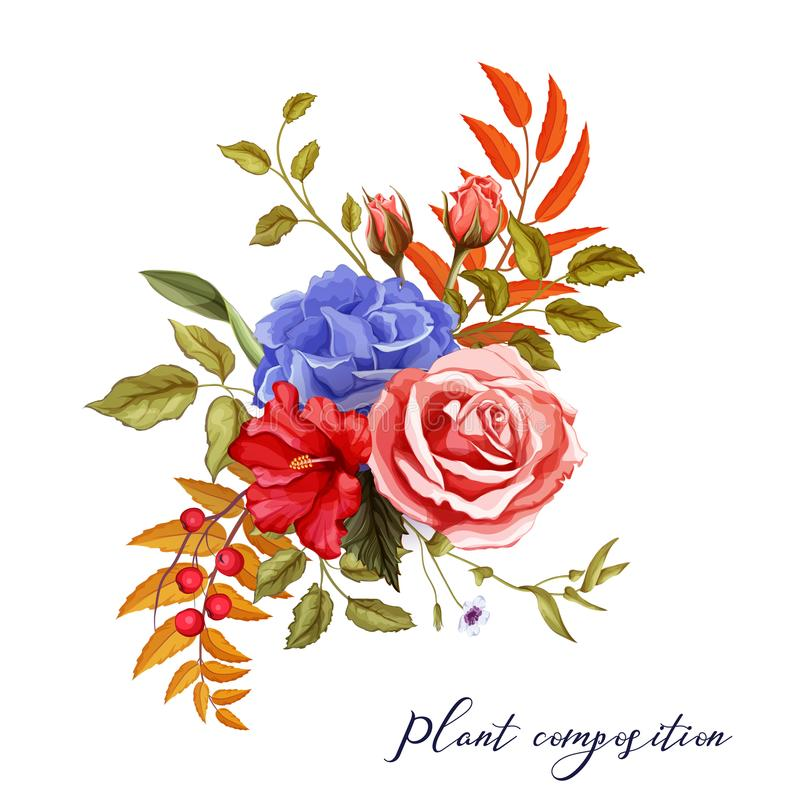 Rosafarbener Blumenstrauß der Vektorherbstfrühlingssommer-Blume vektor abbildung