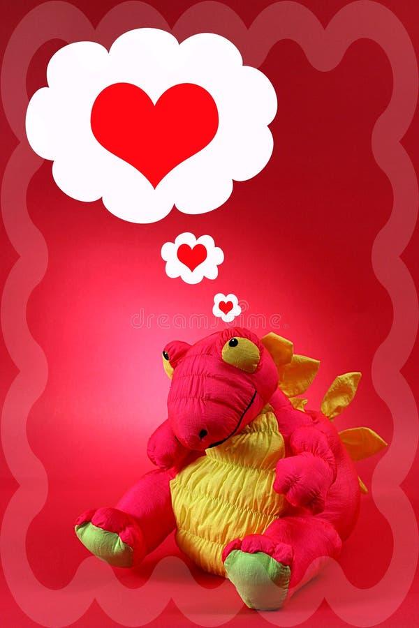 Rosafarbener Drache Mit Gedanken Der Liebe Und Romance - Valentinsgruß Lizenzfreie Stockfotos