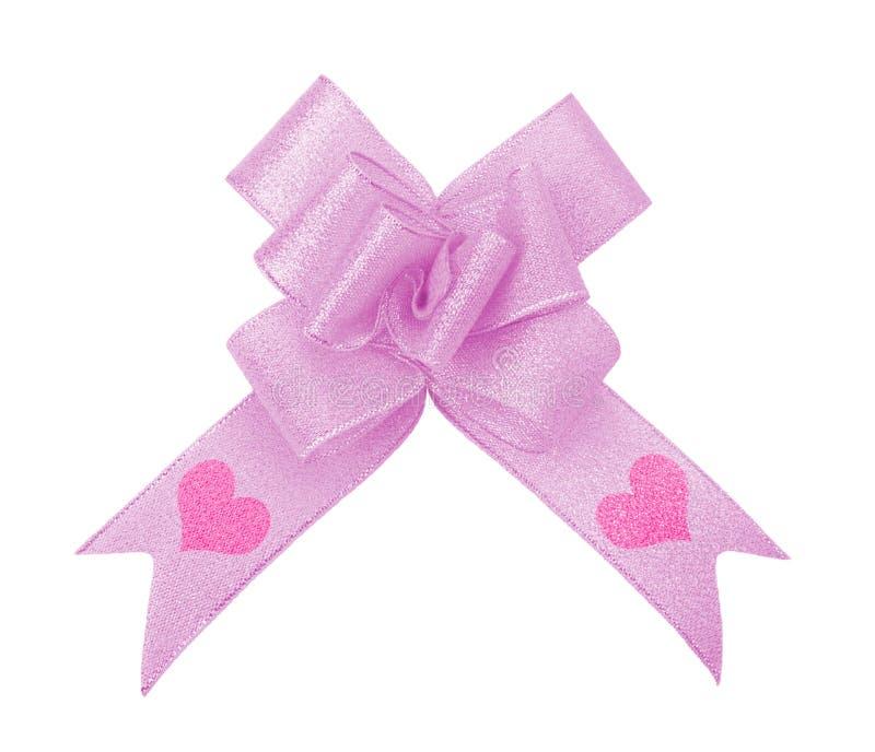 Rosafarbener Farbbandbogen mit Valentinsgruß stockfoto
