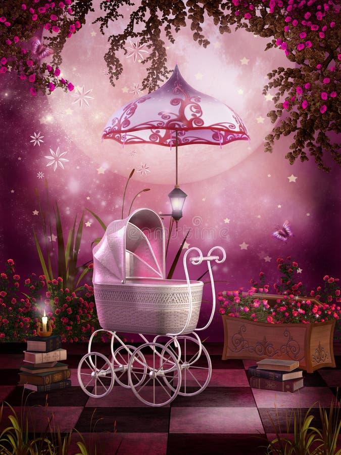 Rosafarbener Garten mit einem Pram lizenzfreie abbildung