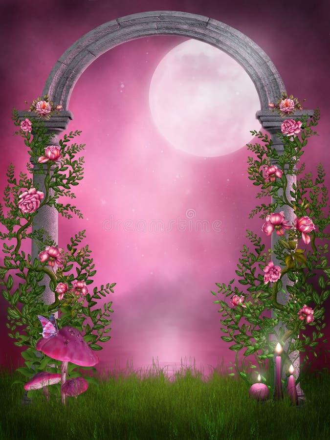 Rosafarbener Garten mit einem Steinbogen stock abbildung