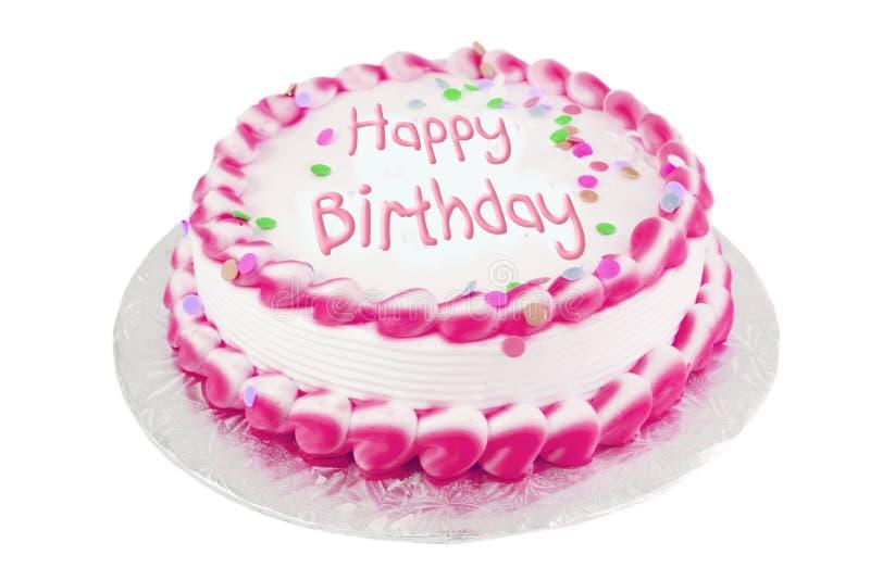 Rosafarbener Geburtstagkuchen lizenzfreie stockfotografie