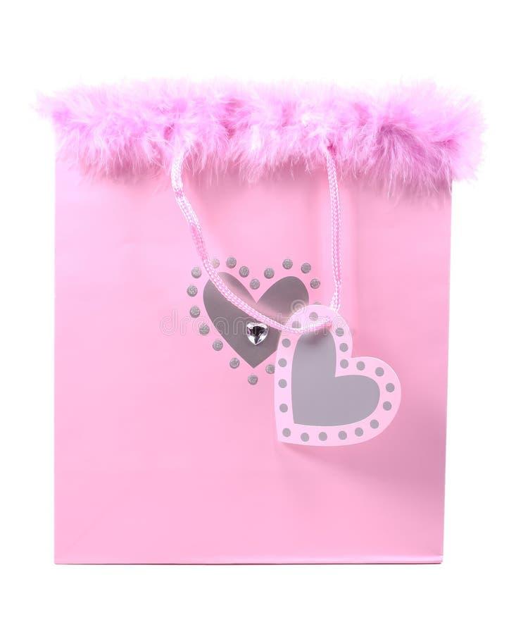 Rosafarbener Geschenk-Beutel stockbilder