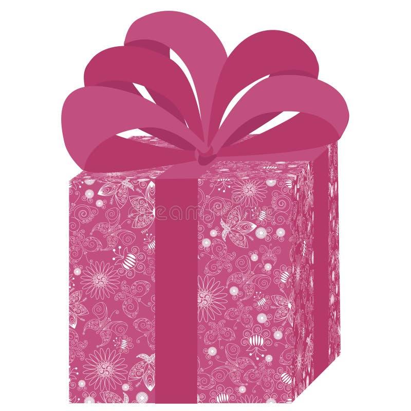 Rosafarbener Geschenkkasten lizenzfreie abbildung