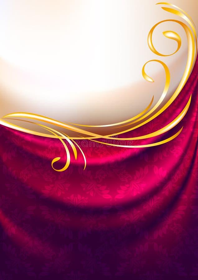 Rosafarbener Gewebetrennvorhang mit Verzierung vektor abbildung