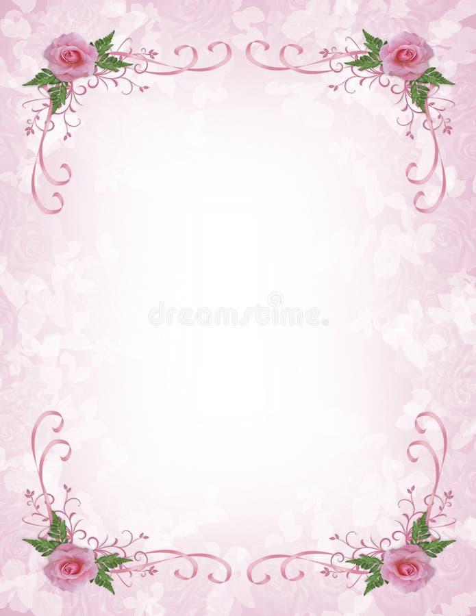 Rosafarbener Rosen Einladungsrand vektor abbildung