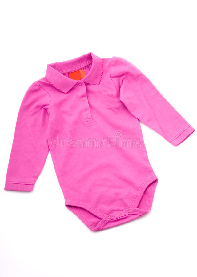 Rosafarbener Schätzchenkindbodysuit lizenzfreie stockbilder