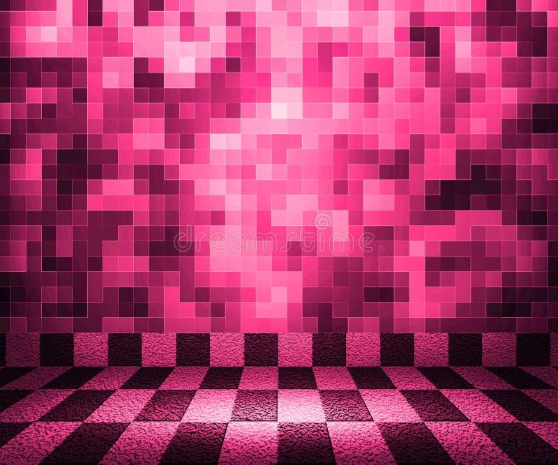 Rosafarbener Schachbrett-Mosaik-Raum-Hintergrund Stockbilder
