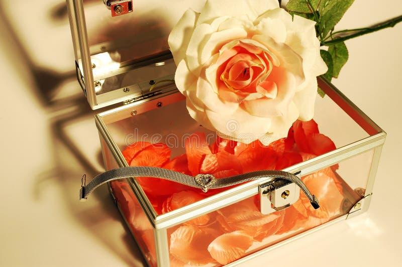 Rosafarbener Schmucksachekasten der rosafarbenen Blumenblätter lizenzfreie stockbilder