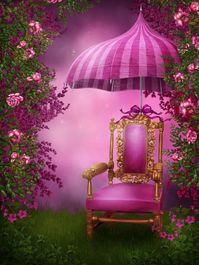 Rosafarbener Stuhl und Regenschirm lizenzfreie abbildung