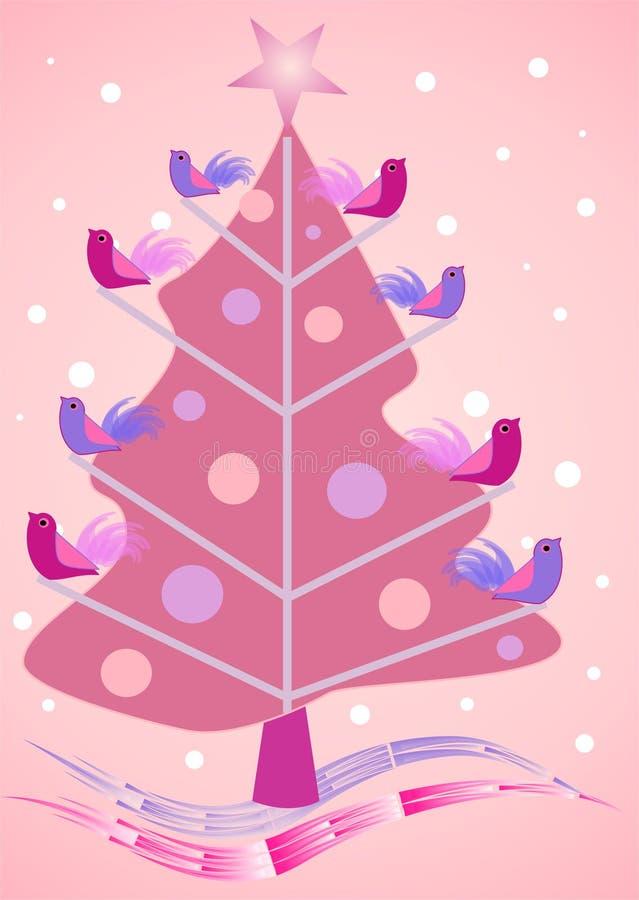 Rosafarbener Weihnachtsbaum mit Piepmätzen lizenzfreie abbildung