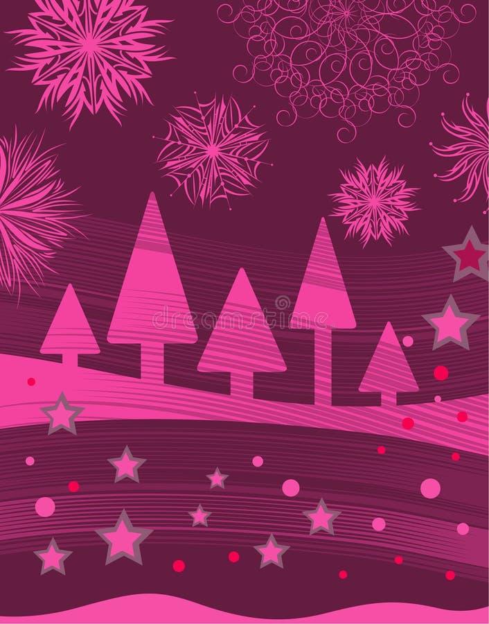 Rosafarbener Weihnachtshintergrund vektor abbildung