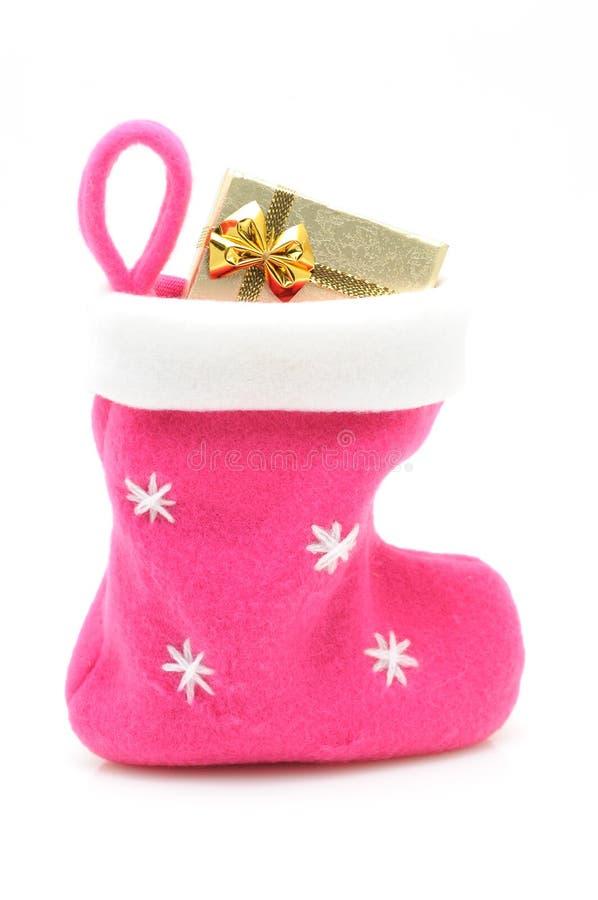 Rosafarbener Weihnachtsstrumpf stockbild